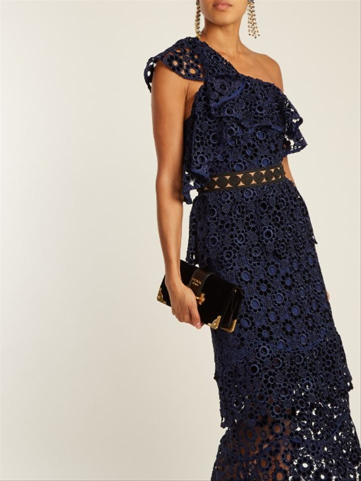 874ec0f43c10 self-portrait Navy One-shoulder Floral Embroidered Cutout Midi Mid ...