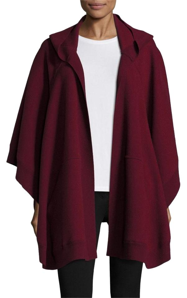 Fin Burberry Deep Red Hooded Carla Poncho/Cape Size OS (one size PV-71