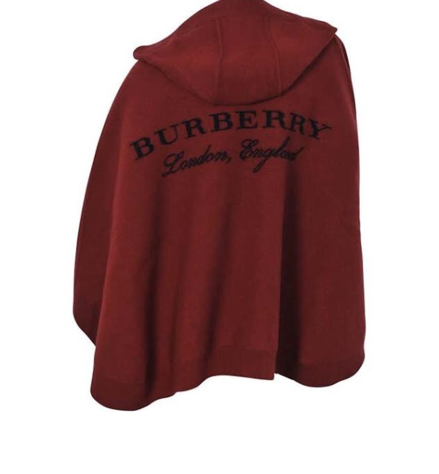 Smuk Burberry Deep Red Hooded Carla Poncho/Cape Size OS (one size QY-87