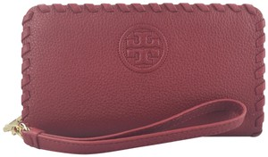 Tory Burch Marion Leather Wristlet in Red