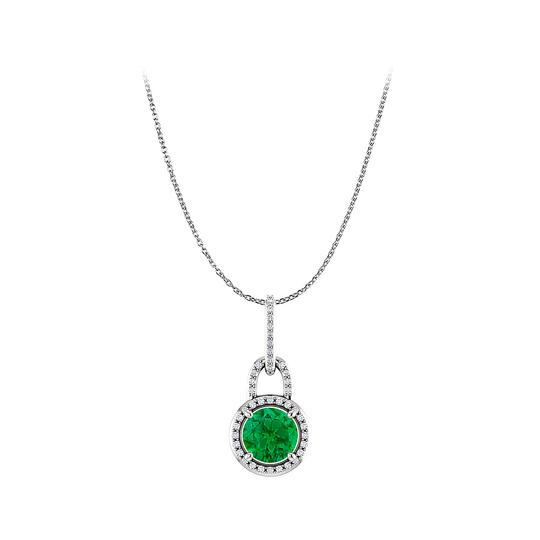 Marco B May birthstone Round Emerald and CZ Halo Pendant in Silver With CZ