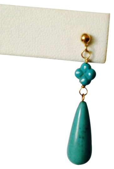 My Closet- Embellished by Leecia Embellished by Leecia Sleeping Beauty Turquoise Teardrop & Clover In 14kt Gold Earrings