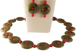 Vtg Chinese Green Nephrite Jade Donuts Coral Sterling Necklace Earrings