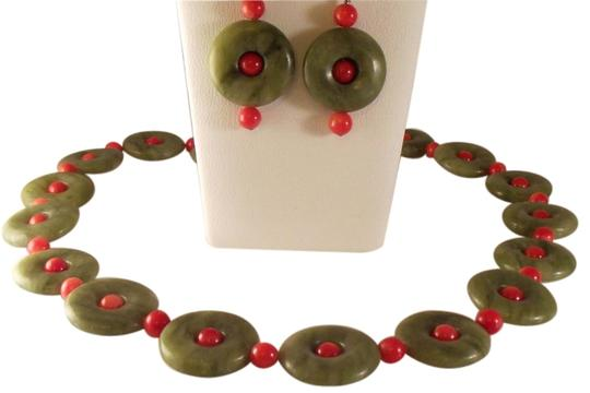 Other Vtg Chinese Green Nephrite Jade Donuts Coral Sterling Necklace Earrings