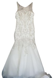Alfred Angelo Ivory 883 Modern Wedding Dress Size 10 (M)