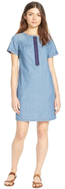 Item - Blue Chambray Cotton Embroidered Shift Short Casual Dress Size 10 (M)