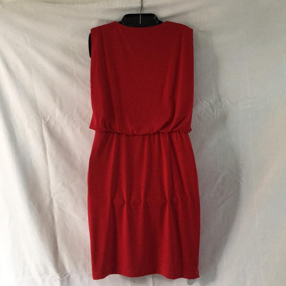 Lord & Taylor Red Beaded Mid-length Cocktail Dress Size 6 (S) - Tradesy
