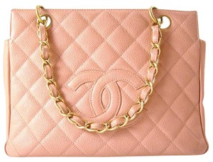 Chanel Vintage Quilted Shoulder Caviar Tote in Soft Pink