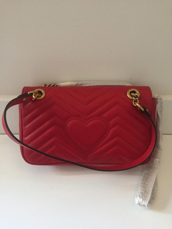 48f937e7012 Gucci Marmont - Gg Matelasse 2.0 Small Red Leather Shoulder Bag ...