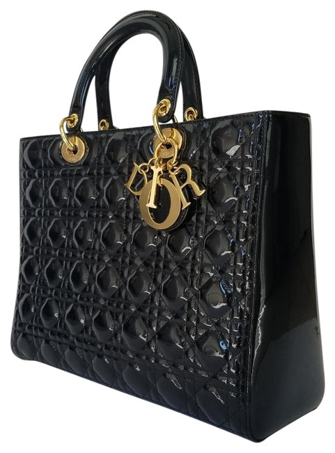 Item - Lady Large Purse Black Leather Gold Hw Patent Tote
