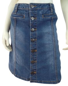 Earl Jean Denim Button Front Above Knee Mini Skirt Blue Wash