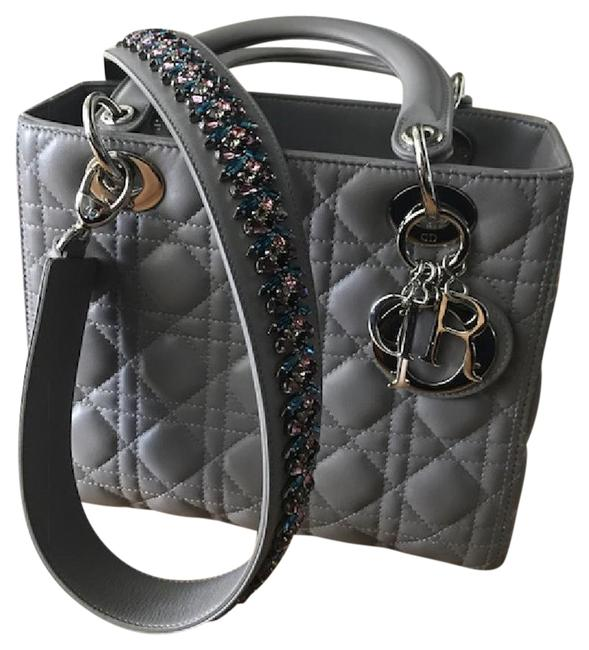 Item - Lady Medium with Crystal Strap Grey Leather Tote