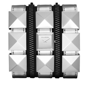 Karl Lagerfeld Karl Lagerfeld Triple Band Zipper Silver Leather Watch KL2007