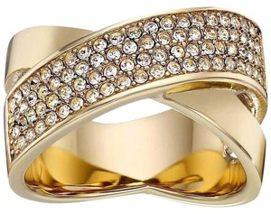 Michael Kors MKJ2867 Brilliance Criss Cross Ring Gold Tone Crystal Pave