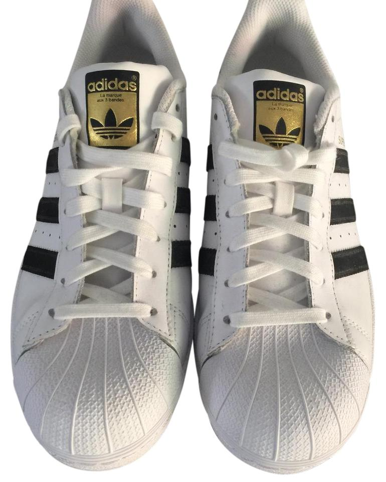 adidas White with Black Top Stripes Women's Superstar Shell Top Black Sneakers 109b86