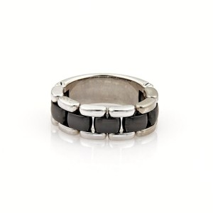 Chanel Ultra 18k White Gold & Black Ceramic Flex Chain Band Ring Size 8