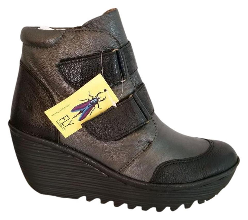 a7a38bad8b4 FLY London Black Gray 40 Us Black Graphite Mousse Borgogna Leather Ankle  Boots Booties