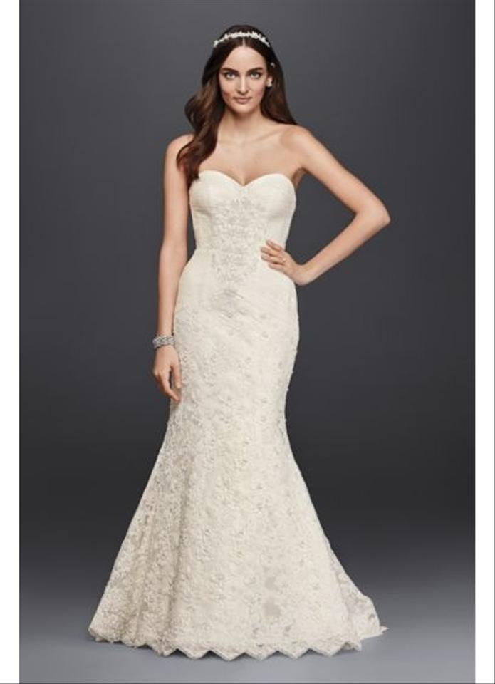 Oleg cassini ivory lace strapless trumpet gown sexy wedding dress 12 junglespirit Images