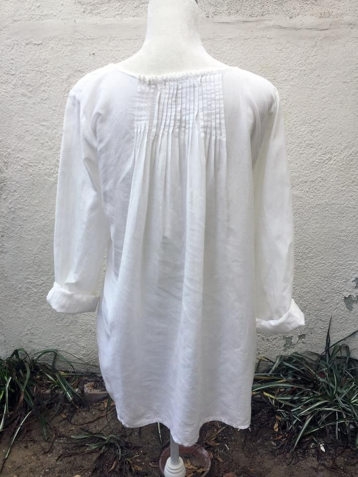 1bbb01ba117213 CP Shades Pleated Loose Fit Silk Blend Silk Sheer Top White Image 5.  123456. 1 ∕ 6
