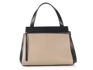 Céline Ce.l0629.07 Bicolor Top Handle Agneau Leather Satchel in Beige and Black