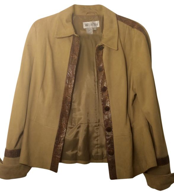 Worth Genuine Suede Black Friday Tan with brown trim Leather Jacket