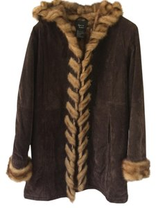 Dennis Basso Winter Coat Suede Coat Faux Collar Brown Leather Jacket