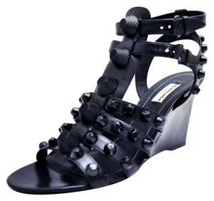Balenciaga Giant 12 Studded Caged Wedge Made In Italy Black Sandals