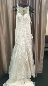 Mori Lee Ivory Lace and Satin Champagne 2876 Formal Wedding Dress Size 0 (XS)