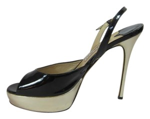 Jimmy Choo Stunning Black/Gold Stiletto Black and Gold Platforms