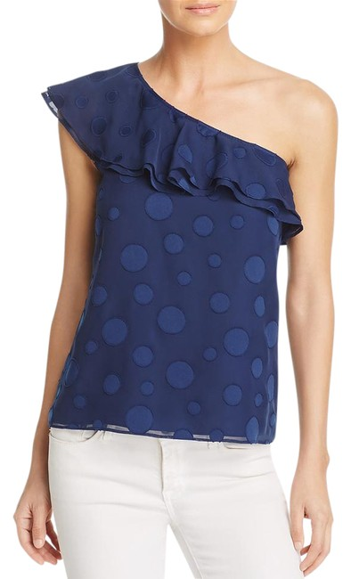 Item - Navy Leah Embroidered One-shoulder Blouse Size 8 (M)