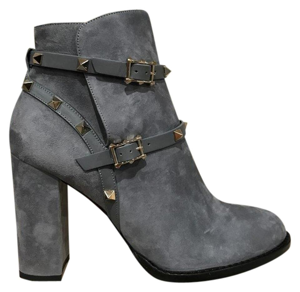 Valentino Suede Grey Rockstud Blue Stone Suede Valentino Ankle City Block Heel Boots/Booties 45ed0a