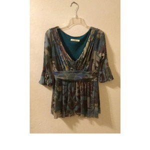 Weston Wear Floral Nylon V-neck Evening Top Multi fall colors