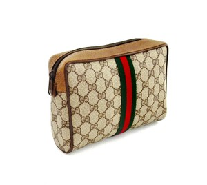 Gucci Web GG Logo Canvas Leather Cosmetics Travel Dopp Toiletry Bag
