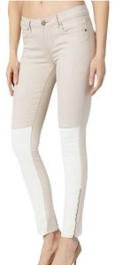 Paige Ankle Zip Two Tone Stretchy Mid Rise Skinny Jeans-Light Wash