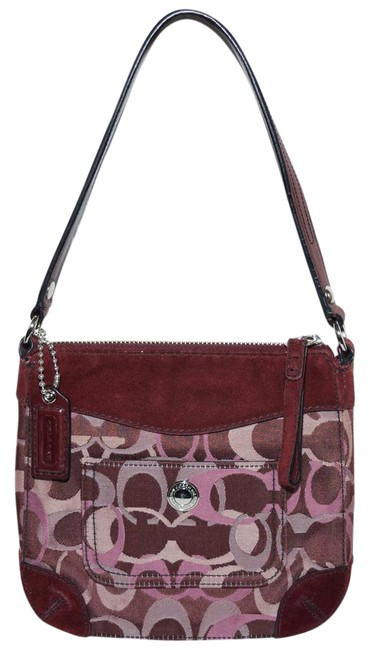 Item - Chelsea Optic Signature Handbag Multi-tone Burgundy Suede Leather and Jacquard Fabrics Baguette