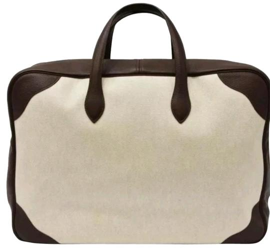 Preload https://img-static.tradesy.com/item/21933184/hermes-victoria-luggage-victoria-de-voyage-suitcase-cream-and-brown-canvas-toga-leather-weekendtrave-0-3-540-540.jpg