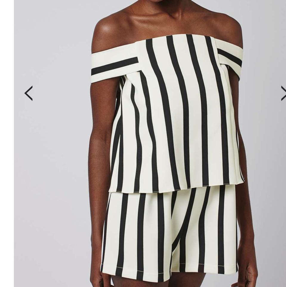 Topshop Black And White Striped Romperjumpsuit Tradesy