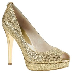 Michael Kors Mk York Platform Gold Pumps