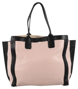 Chloe Leather Tote in pink and black