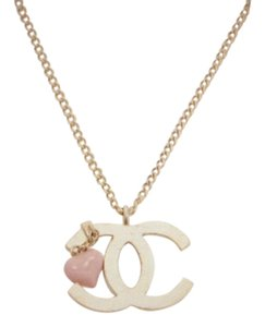 Chanel Vintage Chanel CC Charm Pendant Necklace Gold Tone Pink Heart