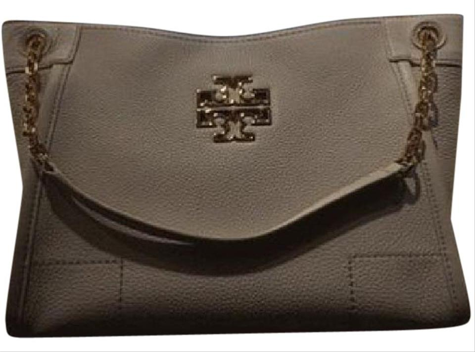 40a7ce9ef90 Tory Burch Britten Small Slouchy French Gray Leather Tote - Tradesy
