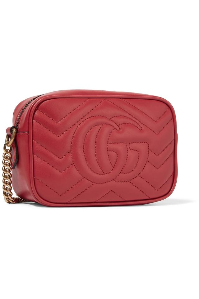 0ffcdfc33220 Gucci Marmont Gg Matelasse Mini Shoulder Red Calf Leather Cross Body Bag -  Tradesy