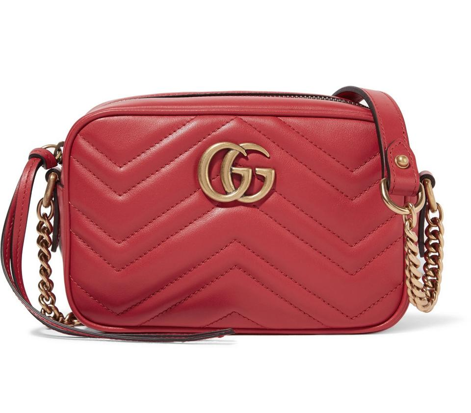faec88e939cd Gucci Marmont Shoulder Red Leather Cross Body Bag. Gucci Gg Marmont Small  ...