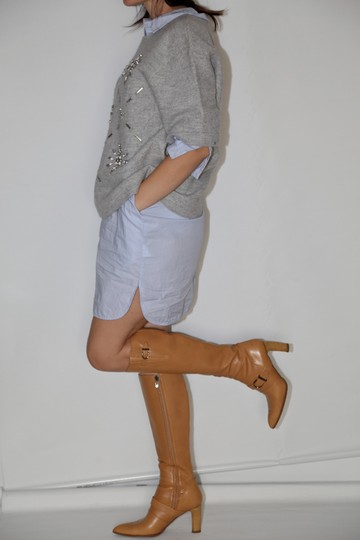 Chanel Leather Knee High Tall Beige Boots Image 1
