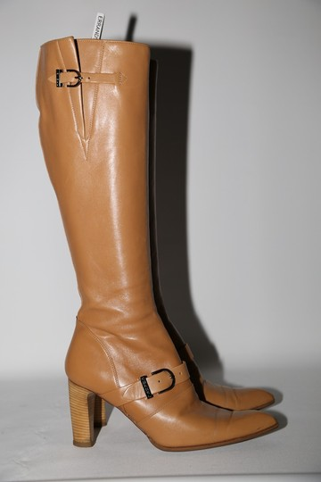 Chanel Leather Knee High Tall Beige Boots Image 10