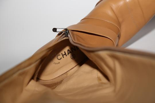Chanel Leather Knee High Tall Beige Boots Image 11