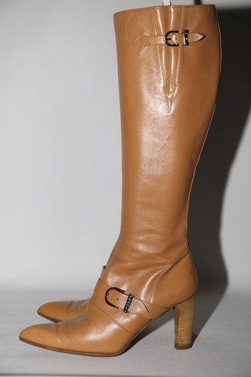 Chanel Leather Knee High Tall Beige Boots Image 2