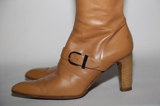 Chanel Leather Knee High Tall Beige Boots Image 3