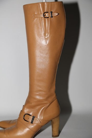 Chanel Leather Knee High Tall Beige Boots Image 4