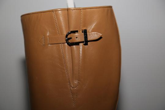 Chanel Leather Knee High Tall Beige Boots Image 6